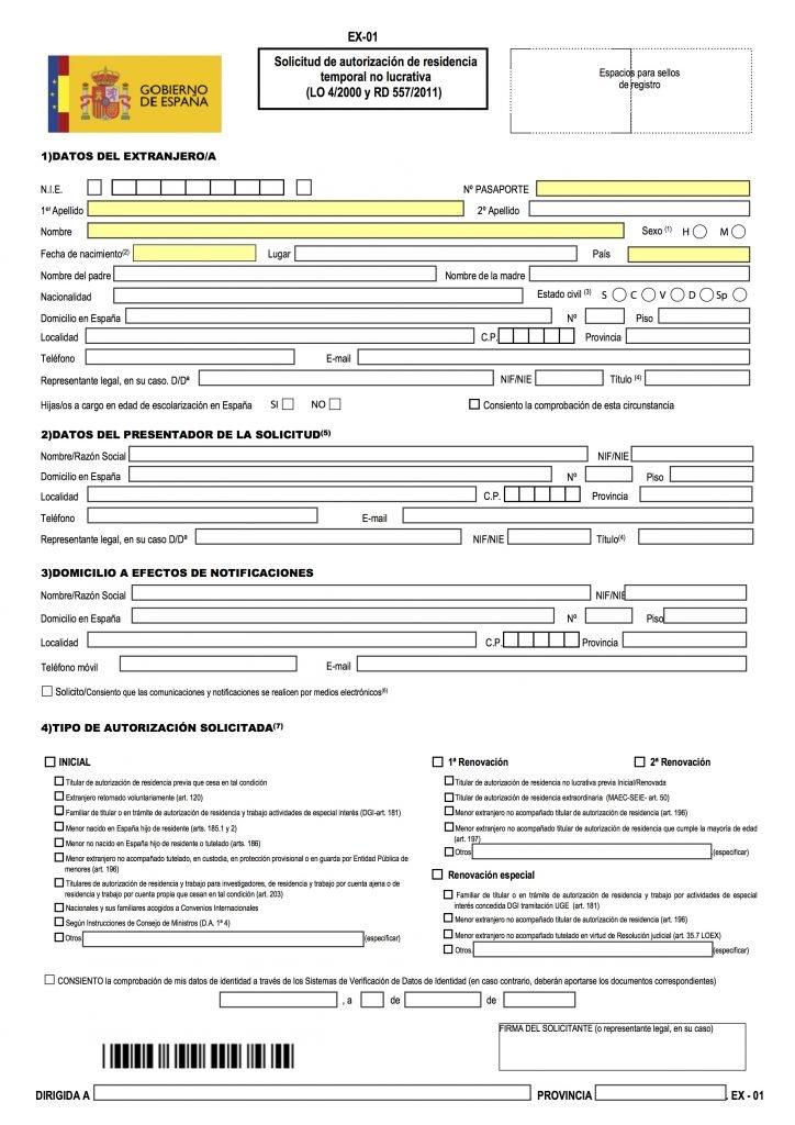 Non Lucrative Visa Forms